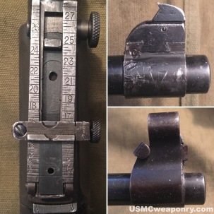 The three parts of the #10 sight system: drift slide, front sight blade and sight cover.