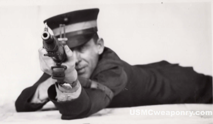 Marine testing out the newly developed #10 sights (photo: NARA)